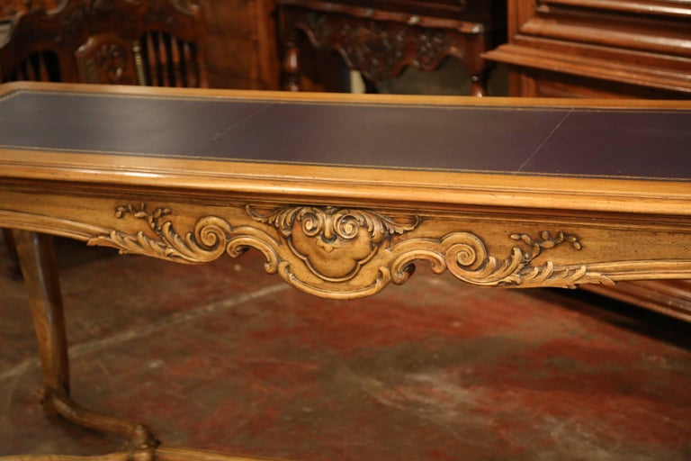 Large 19th Century French Louis XV Carved Walnut Console Desk with Leather Top For Sale 10