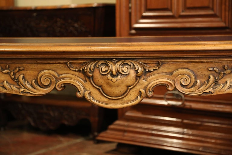 Large 19th Century French Louis XV Carved Walnut Console Desk with Leather Top For Sale 11