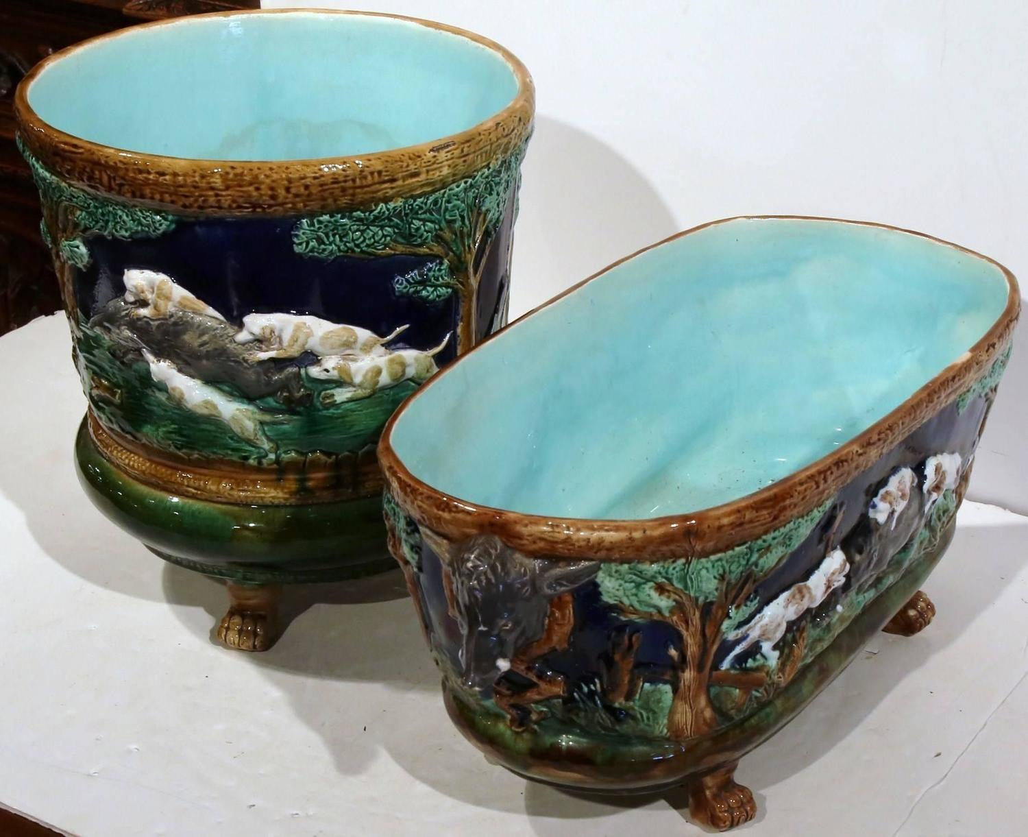 set of two vintage french barbotine cache pot and jardiniere with hunting scenes at 1stdibs. Black Bedroom Furniture Sets. Home Design Ideas