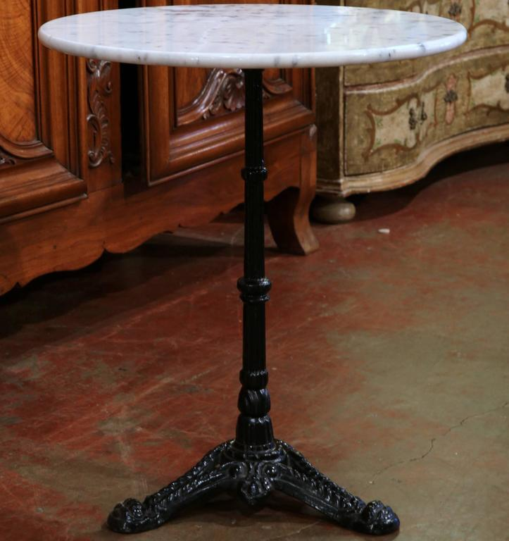 Marble Bistro Accent Table: Early 20th Century Iron Pedestal Bistro Table From Paris