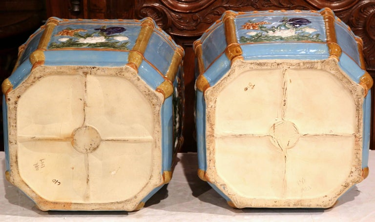 Pair of 19th Century French Hand Painted Barbotine Cachepots with Floral Motifs For Sale 3