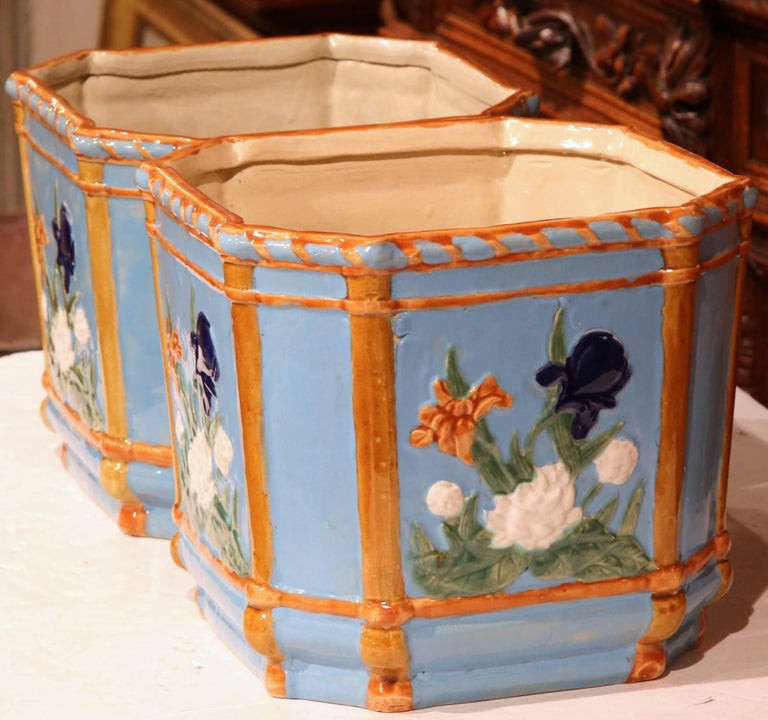 Ceramic Pair of 19th Century French Hand Painted Barbotine Cachepots with Floral Motifs For Sale