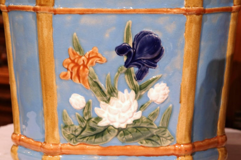Pair of 19th Century French Hand Painted Barbotine Cachepots with Floral Motifs For Sale 2
