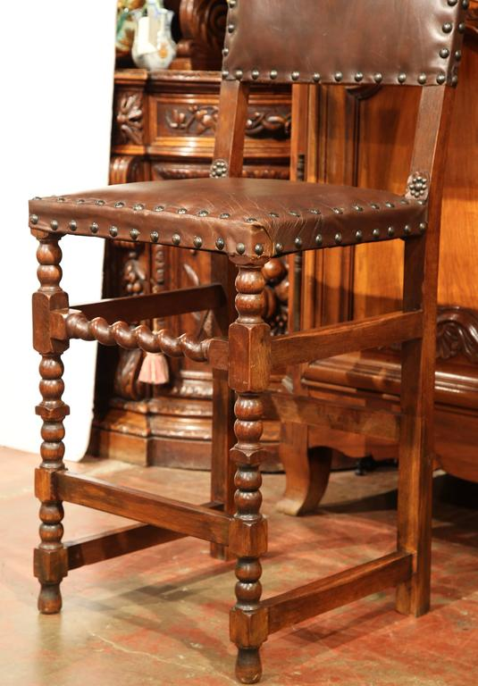 Groovy Pair Of 19Th Century French Carved Walnut Bar Stools With Original Brown Leather Inzonedesignstudio Interior Chair Design Inzonedesignstudiocom