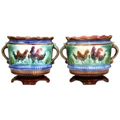 Pair of 19th Century French Hand-Painted Barbotine Round Cache Pots with Chicken