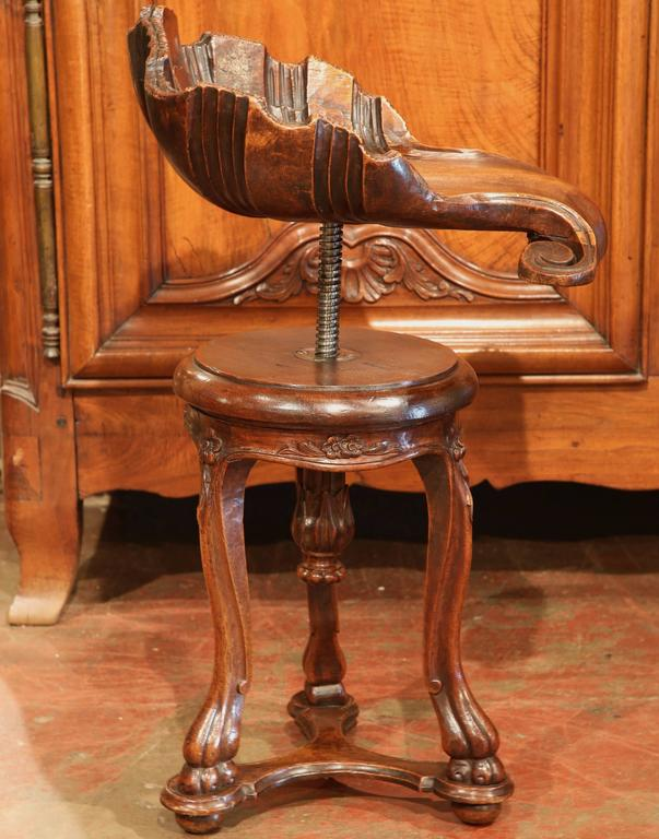 Patinated 19th Century, French Hand-Carved Walnut Adjustable Piano Grotto Shell Stool For Sale