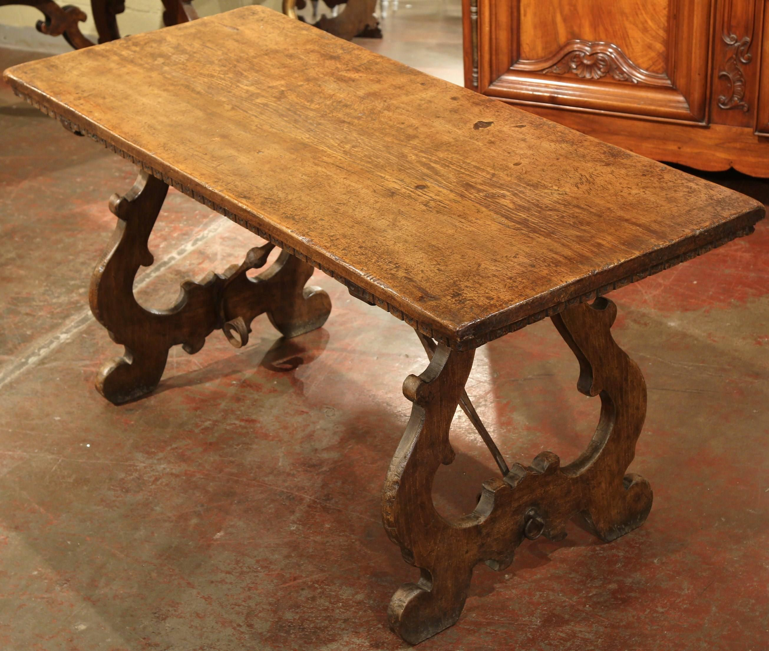 19th Century Spanish Carved Chestnut Table With Stretcher And Single Plank  Top 2