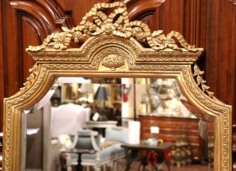 French Pair of Mid-20th Century Carved Louis XVI Giltwood Mirrors with Bevelled Glass For Sale