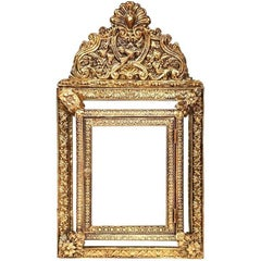19th Century French Napoleon III Repoussé Copper Mirror with Inside Brushes