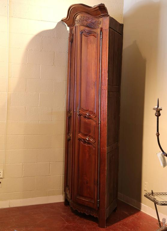 Tall 18th Century French Carved Walnut Bow Corner Cabinet