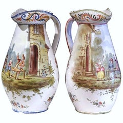 Pair of 19th Century, French, Painted Faience Wine Pitchers with Tavern Scenes