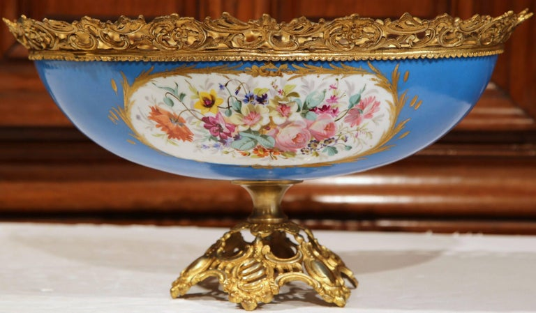Hand-Crafted 19th Century French Painted Porcelain and Bronze Oval Jardinière Sevres Style For Sale