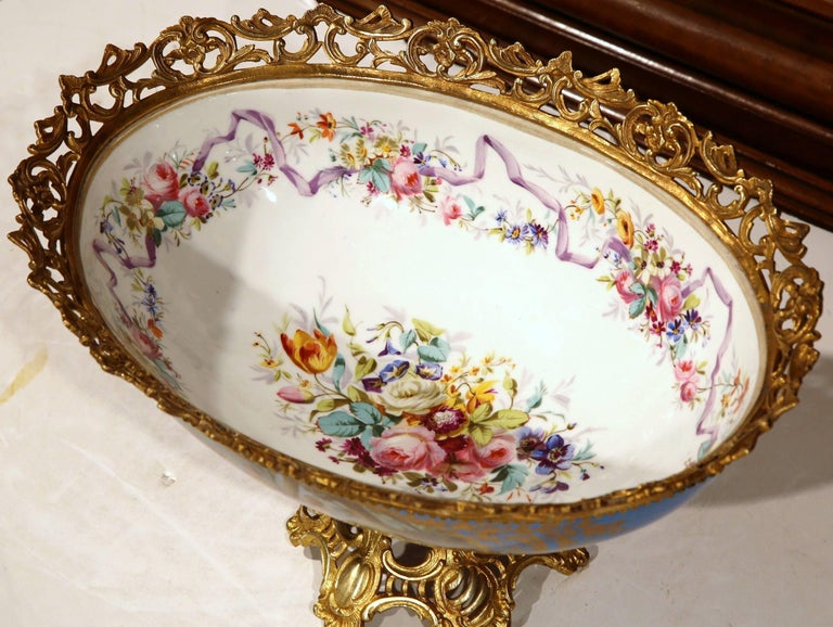 Louis XVI 19th Century French Painted Porcelain and Bronze Oval Jardinière Sevres Style For Sale