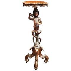 19th Century Italian Carved Polychrome and Gilt Blackamoor Walnut Table
