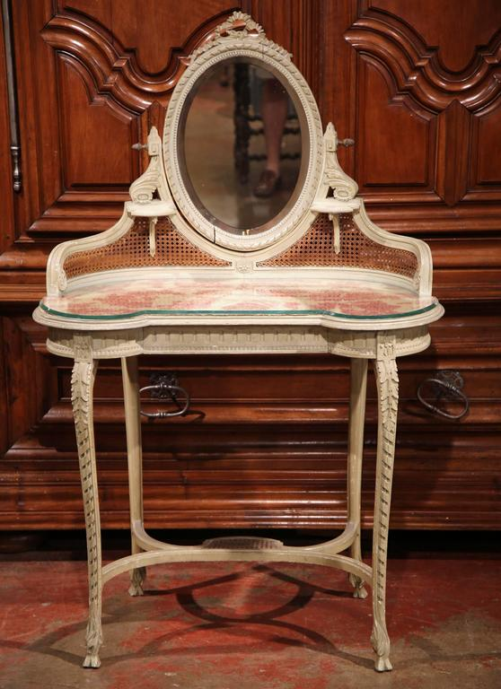 19th Century French Louis Xvi Carved And Painted Vanity