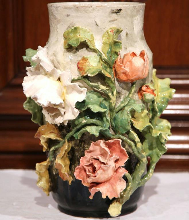 Hand-Crafted Large 19th Century French Hand-Painted Barbotine Vase with Flowers from Montigny