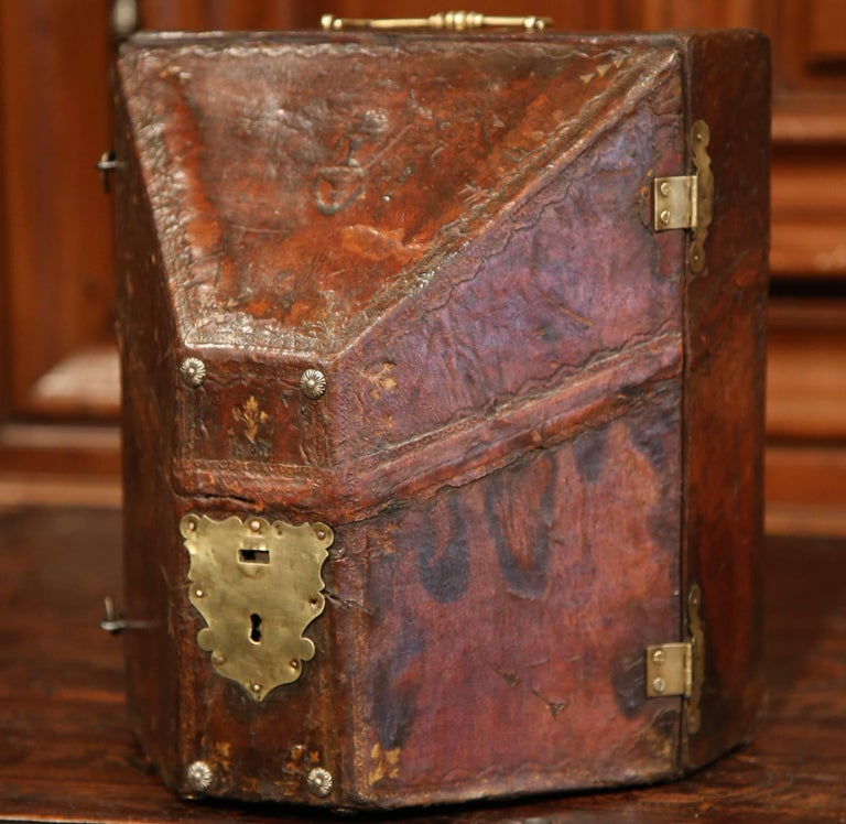 Decorate an office or a library with this elegant antique letter holder;  crafted in Southern - 19th Century French Letter Holder With Brown Patinated Leather And