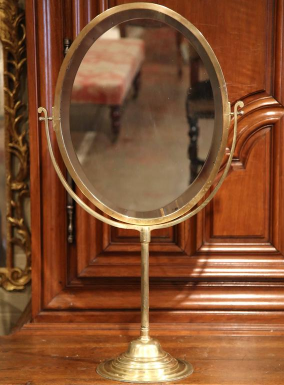 Th century french bronze vanity tilt mirror with double