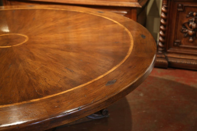 Large Round Walnut Table With Carved Center Pedestal And