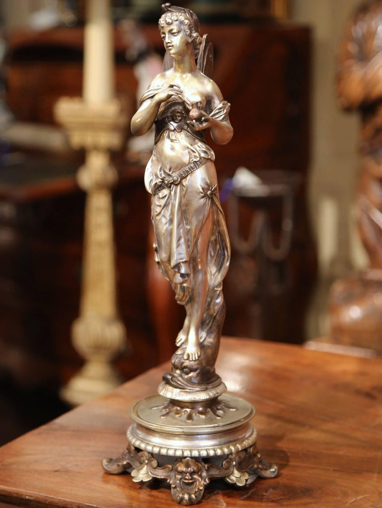 19th Century French Silvered Bronze Roman Woman Statue Standing on Dolphin In Excellent Condition For Sale In Dallas, TX