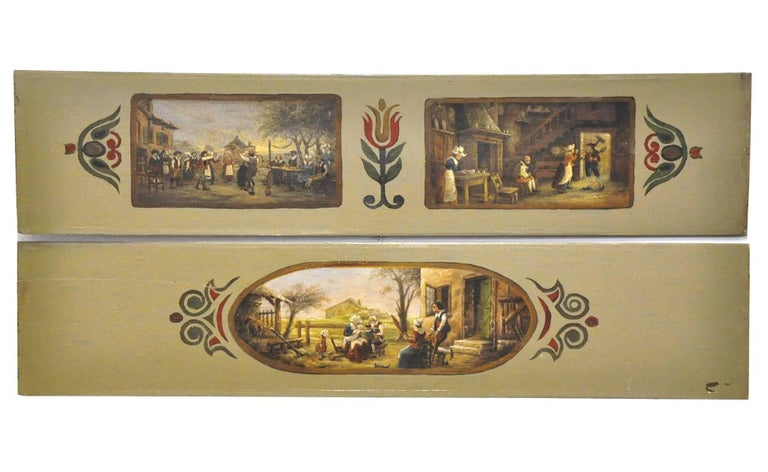 Hand-Painted Pair of 19th Century French Hand Painted Wood Panels in the Manner of Teniers For Sale
