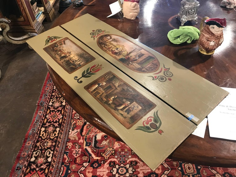 Pair of 19th Century French Hand Painted Wood Panels in the Manner of Teniers 2