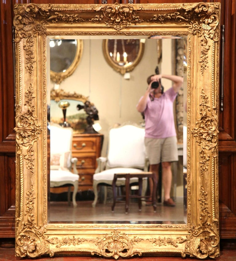 Large 19th Century French Carved Giltwood Wall Mirror with Beveled Glass 4
