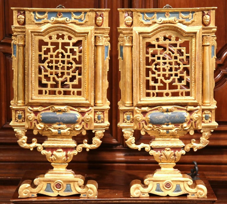 Giltwood Large Pair of 18th Century Italian Carved Polychrome and Gilt Wall Carvings For Sale