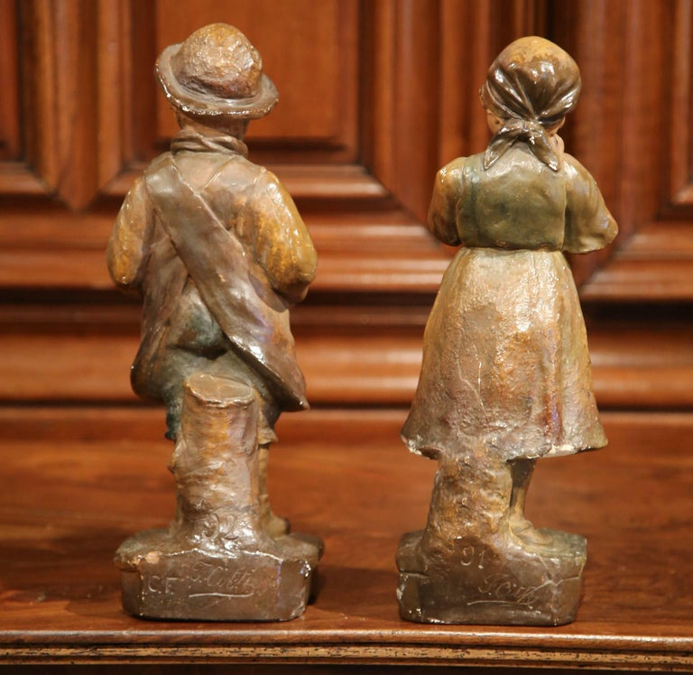 Pair of Early 20th Century French Painted Terracotta Sculptures Signed F. Citti For Sale 4