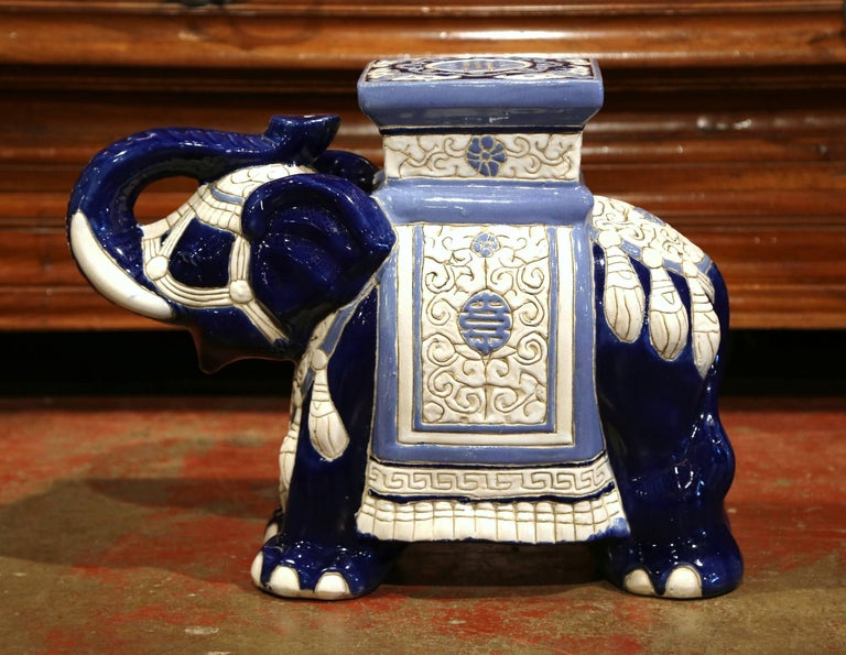 Mid 20th Century French Ceramic Hand Painted Elephant Form
