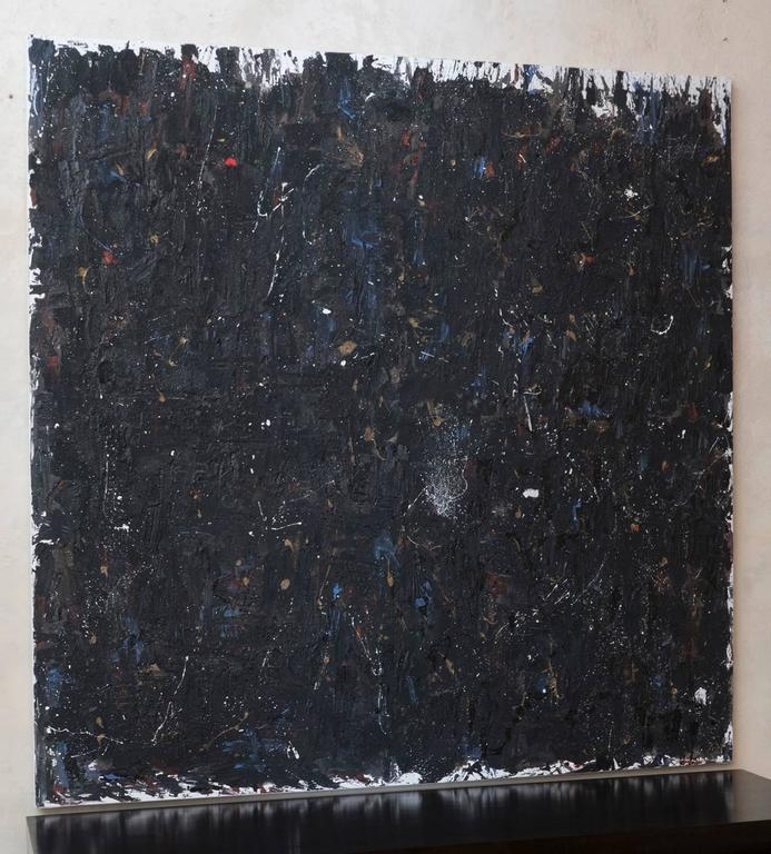 Abstract materic painting on canvas over wood panel, sand, plaster and acrylic by Andrea Brandi, 2014.
