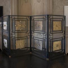 21st  Century Black Steel Screen with Brass Details
