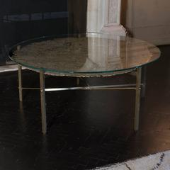 Round Brass Coffee Table 1980