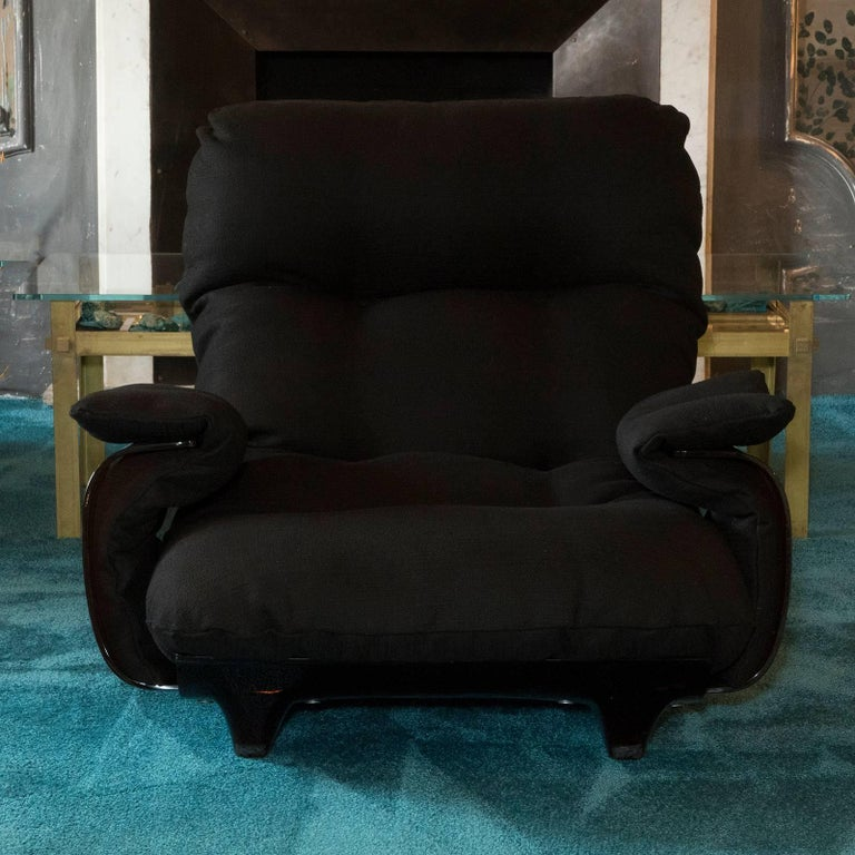 Pair of lounge chairs designed by Michel Ducaroy, Marsala series manufactured by Ligne Roset, amber plexiglass base with vintage patina and newly reupholstered black cotton woven fabric.