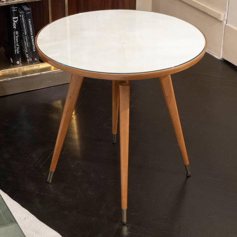 Pair of Oak and Parchment Side Table with Glass Top, Italy, circa 1950s In Excellent Condition For Sale In Firenze, IT