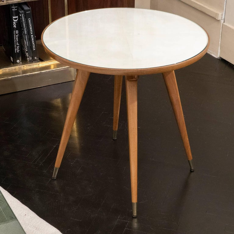 Mid-Century Modern Pair of Oak and Parchment Side Table with Glass Top, Italy, circa 1950s For Sale
