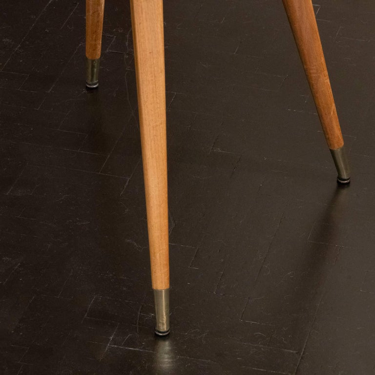 Brass Pair of Oak and Parchment Side Table with Glass Top, Italy, circa 1950s For Sale