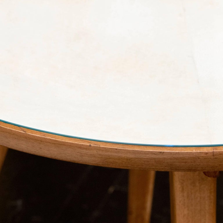 Italian Pair of Oak and Parchment Side Table with Glass Top, Italy, circa 1950s For Sale
