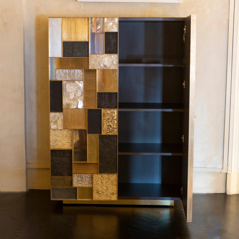 Italian Flair Edition One of a Kind Tall Cabinet in Brass/Steel/Gypsum Crystal, 2018 For Sale