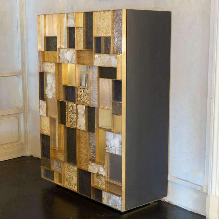 Contemporary Flair Edition One of a Kind Tall Cabinet in Brass/Steel/Gypsum Crystal, 2018 For Sale