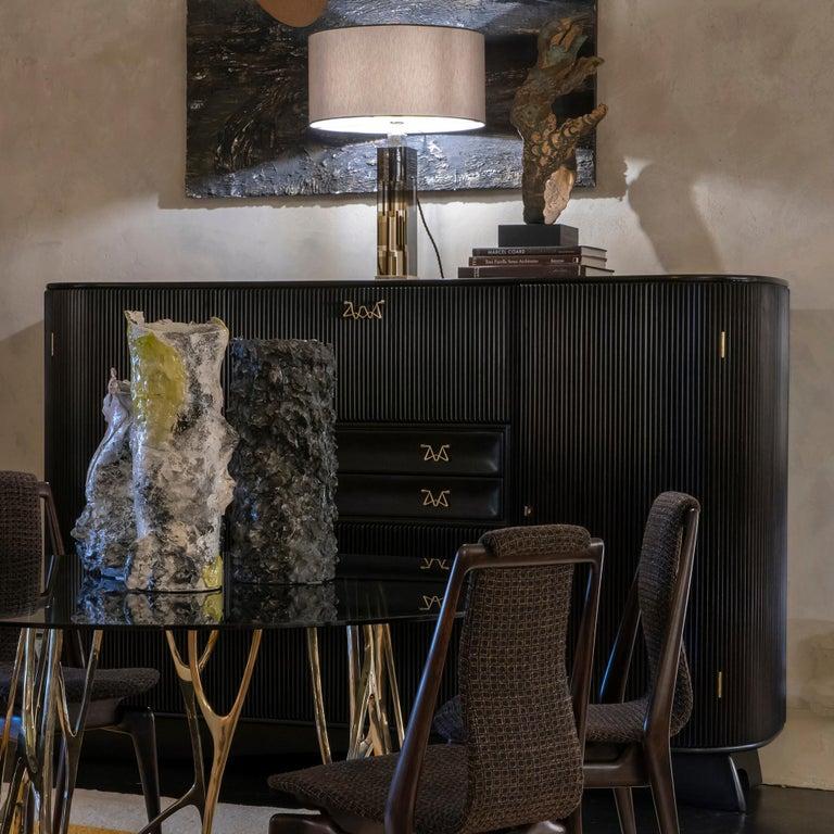 Osvaldo Borsani Dark Mahogany Tall Cabinet/Dry Bar, Brass Details, Italy, 1950s For Sale 13
