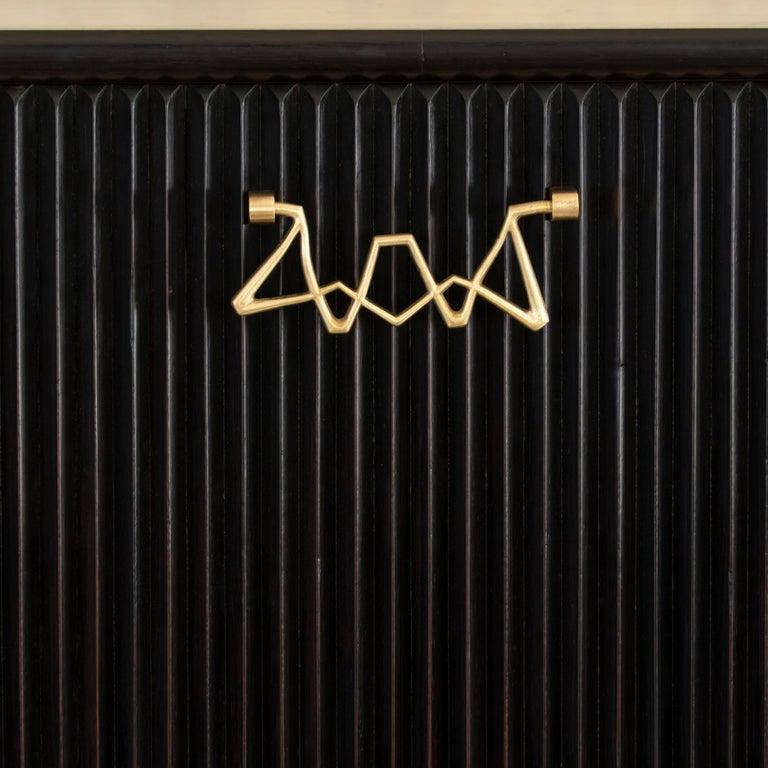 Osvaldo Borsani Dark Mahogany Tall Cabinet/Dry Bar, Brass Details, Italy, 1950s For Sale 5