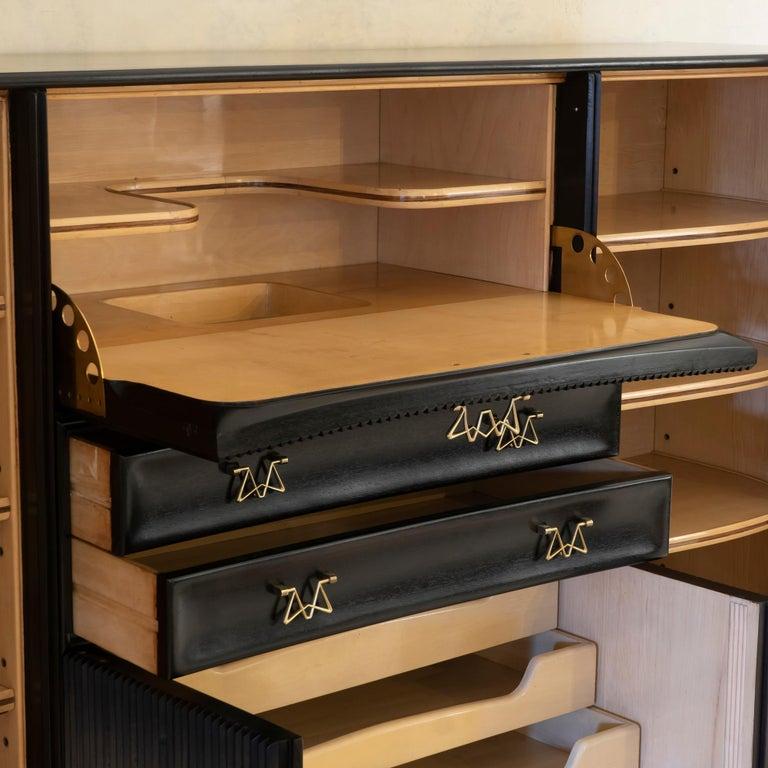 Mid-20th Century Osvaldo Borsani Dark Mahogany Tall Cabinet/Dry Bar, Brass Details, Italy, 1950s For Sale