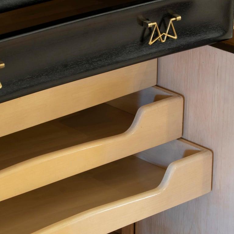 Osvaldo Borsani Dark Mahogany Tall Cabinet/Dry Bar, Brass Details, Italy, 1950s For Sale 2