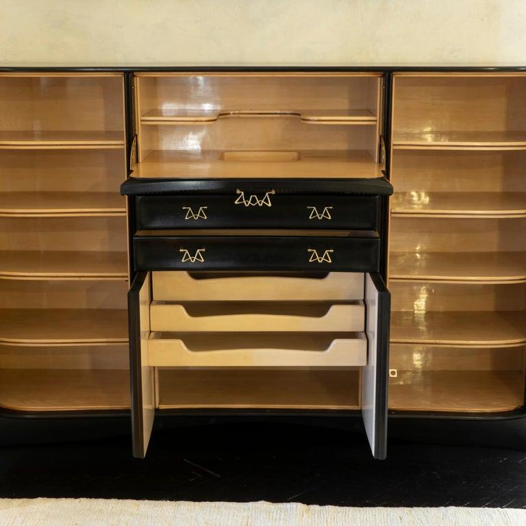 Italian Osvaldo Borsani Dark Mahogany Tall Cabinet/Dry Bar, Brass Details, Italy, 1950s For Sale