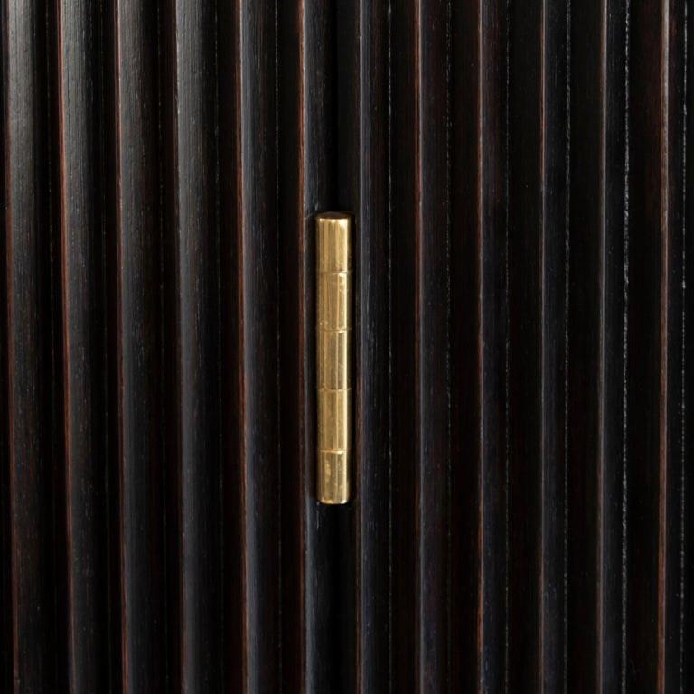Osvaldo Borsani Dark Mahogany Tall Cabinet/Dry Bar, Brass Details, Italy, 1950s For Sale 10
