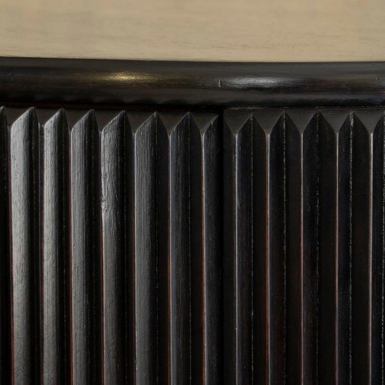 Osvaldo Borsani Dark Mahogany Tall Cabinet/Dry Bar, Brass Details, Italy, 1950s For Sale 12