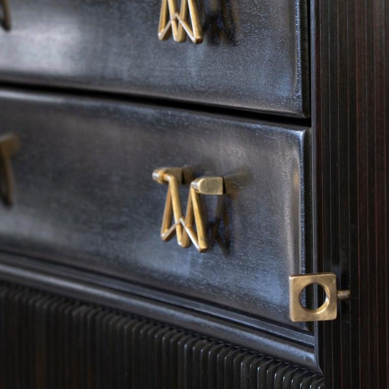 Osvaldo Borsani Dark Mahogany Tall Cabinet/Dry Bar, Brass Details, Italy, 1950s For Sale 4