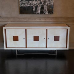 1960s Italian Parchment and Oak Sideboard.