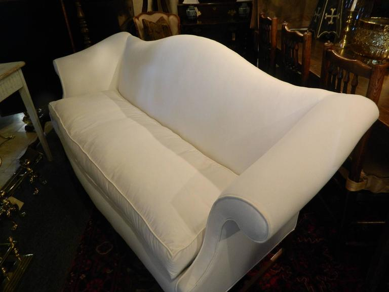 Chippendale Style Camelback Upholstered Sofa, Late 19th Century For Sale 3